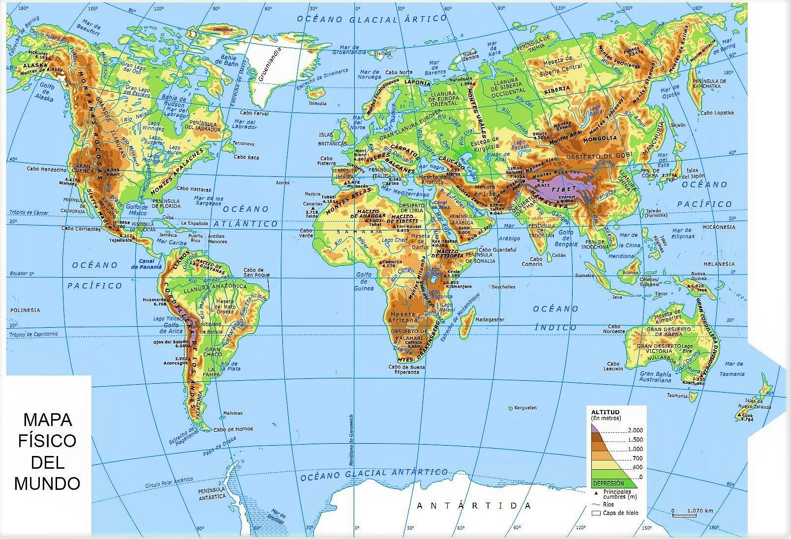 mapa mundi fisico con nombres
